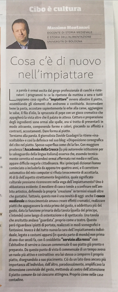Articolo impiattamento scritto da Massimo Montanari pubblicato sulla rivista soci Coop