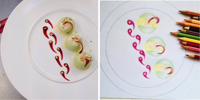 Progetto e impiattamento del piatto gelato salato ai piselli degli studenti della scuola Galdus a Milano