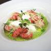 piatto gamberi rossi sedano e mango dello chef Riccardo Benvenuti
